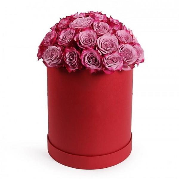 25 фиолетовых роз в коробке
